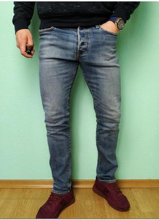 Мужские зауженные голубые джинсы h&m