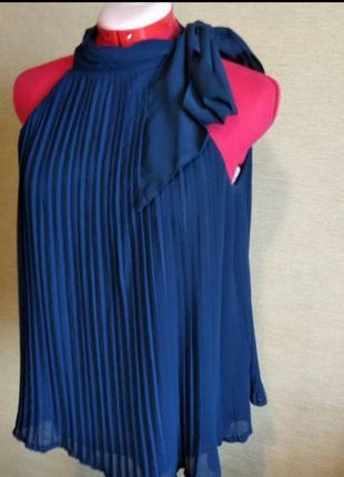 Плиссированая шифоновая блузка топ майка плиссе c бантом