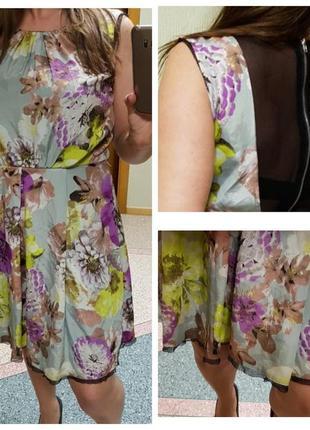 Летнее платье с цветочным принтом и мелкой сеткой на спине ladel