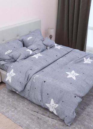 Полуторный постельный комплект серого цвета в наличии, постель...