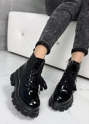 Шикарные лаковые ботинки на платформе,лакированные ботинки на ...