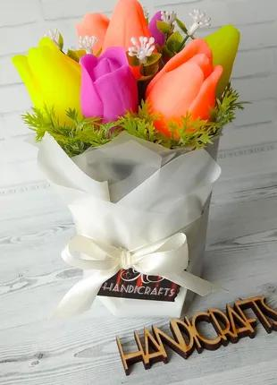Подарочный букет тюльпанов! Подарок на праздник! Цветы из мыла!
