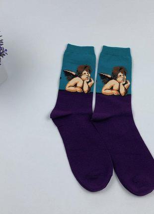Стильные женские носки с ангелом, арт носки с картиной