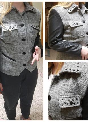 Демисезонный жакет пиджак с кожаными рукавами only