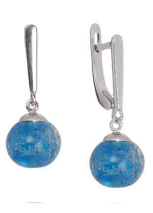 Серьги из серебра 925 пробы с покрытием из родия с муранским с...