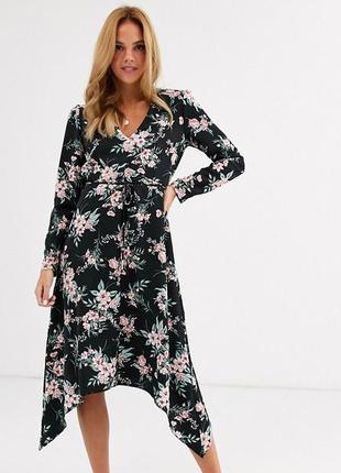 Платье миди в цветочный принт с ассиметричным низом под пояс asos