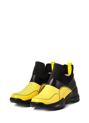Стильные женские кожаные желтые кроссовки ботинки без шнурков ...