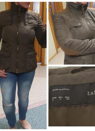 Стеганная демисезонная куртка zara с локотками