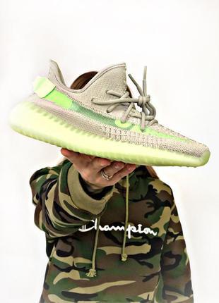 Мужские летние кроссовки adidas yeezy boost 350 grey green ади...