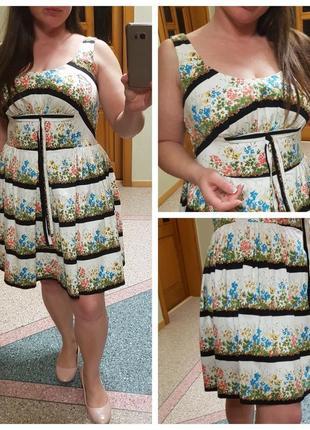 Натуральное летнее платье с пышной юбкой new look