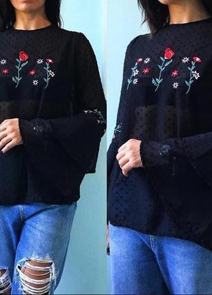Черная шикарная блуза primark с вышивкой