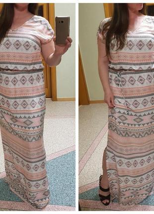 Длинное летнее натуральное платье в пол imitz