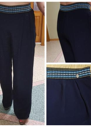 Натуральные широкие брюки с вышитым широким поясом odm