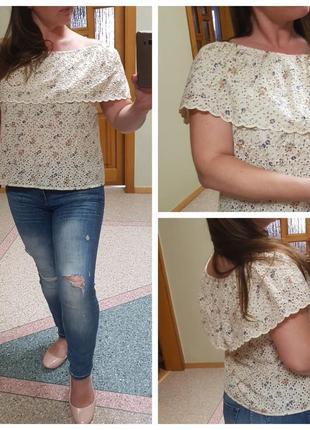 Натуральная блуза с воланом из прошвы tu