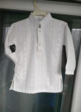 Модная нарядная рубашка с вышивкой р.98 мальчику 3г белая сорочка