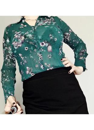Блуза-рубашка s. oliver изумрудного цвета 12-14/48-50 размера