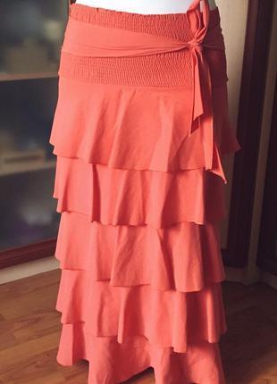 Шикарная юбка в пол, длинная юбка, коралового цвета