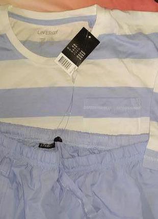 Летний комплект,мужская пижама,домашний костюм livergy:футболк...