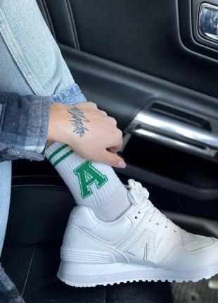 New balance 574 white, женские кроссовки нью беленс белые