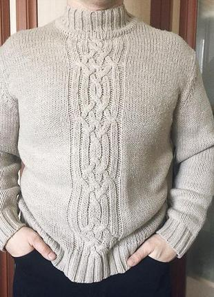 Мужской коричневый свитер под горло, кофта, пуловер, джемпер о...