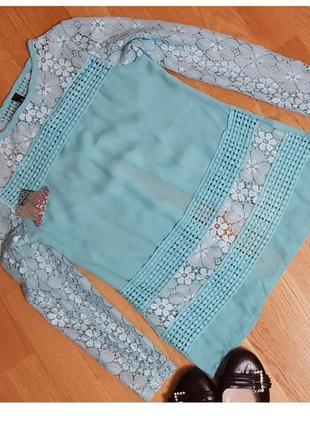 Шифоновая блуза с кружевом ruiyige