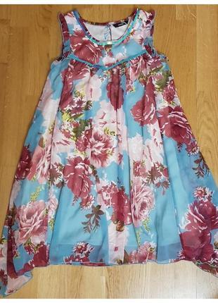 Шифоновое платье с паетками, цветочный принт george