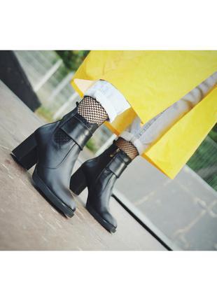 Ботинки женские на молнии кожаный на широком каблуке стильные ...