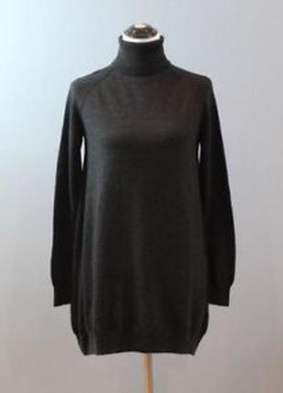 Стильное теплое шерстяное платье свитер бочонок кокон, натурал...