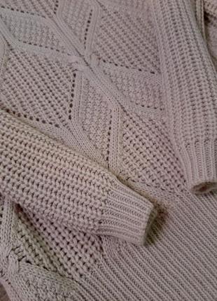 Джемпер удлиненный свитер платье крупной вязки в узор от h&m