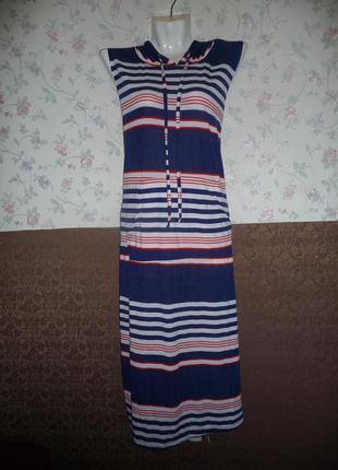 Летнее длинное трикотажное платье в пол с капюшоном