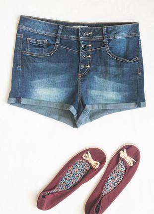 Классные джинсовые шорты на пуговицах с высокой посадкой от de...