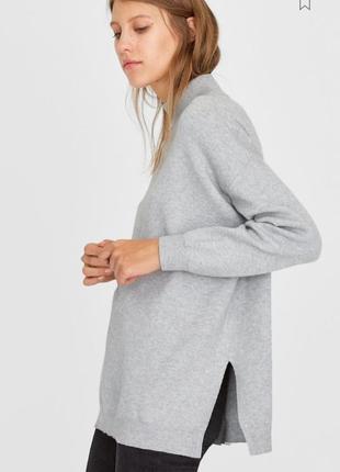 Удлиненный серый меланжевый свитер водолазка гольф оверсайз с ...