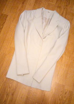 Белый кремовый пиджак бежевый айвори шампань классический дело...