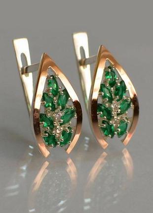 Серьги серебро 925 с золотом зелёные 172