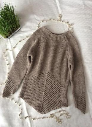 Кофта свитер пуловер ажурный вязанный мохер шерсть