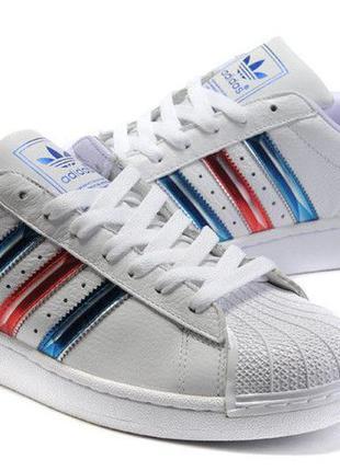 Женские кроссовки adidas superstar white blue red old school
