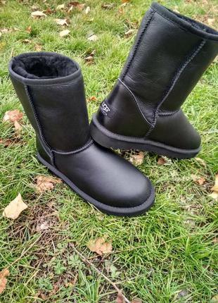 """Женские угги ugg classic short ii leather boot """"black"""""""