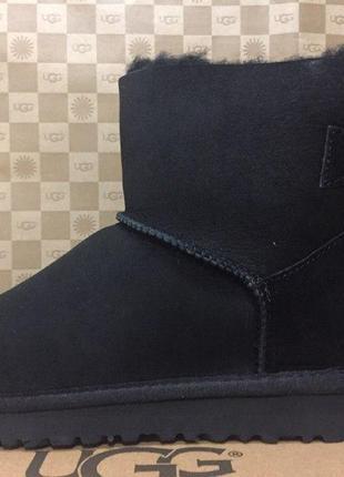 "Женские угги ugg mini bailey bow ""black""  банты"