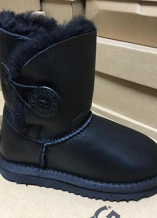 "Детские угги ugg baby bailey button  boot leather ""black"""
