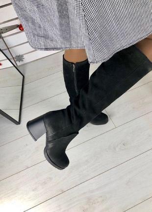 Женские черные сапоги на каблуке зима  39,  40р. нубук