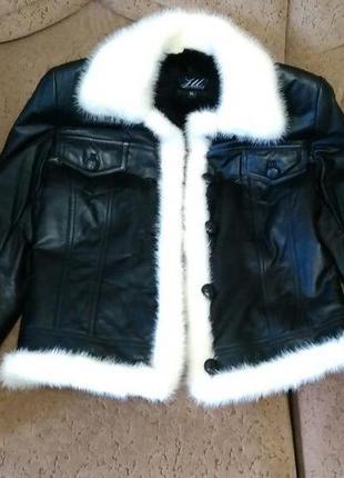 Кожаная куртка пиджак с воротником норки