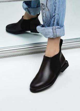 Демисезонные женские ботинки черные  честеры челси