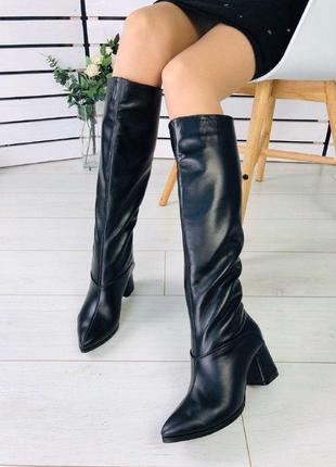 Женские сапоги кожаные казаки