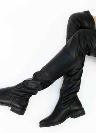 Женские кожаные сапоги-чулки