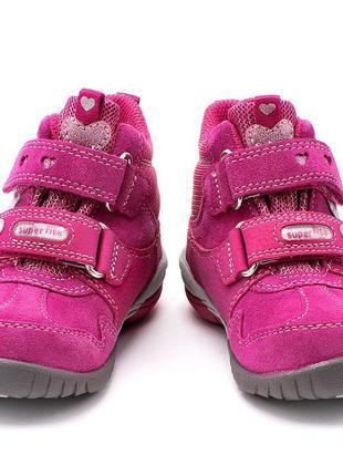 Замшевые ботинки фуксия на липучках