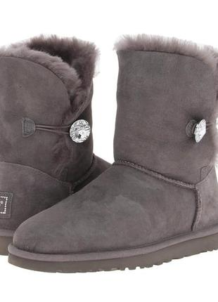 Женские угги ugg bailey button bling grey