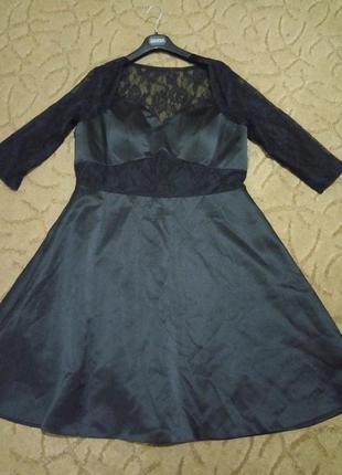 Красивое платье атлас с гипюром большой размер 16-18-20