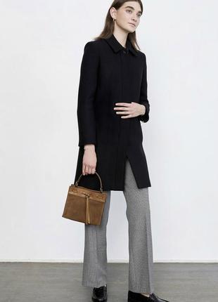 Черное прямое шерстяное пальто amaranto натуральное классика