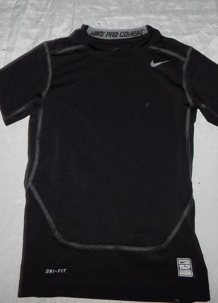 Nike pro футболка спортивная на мальчика 7-8 лет чёрная combat