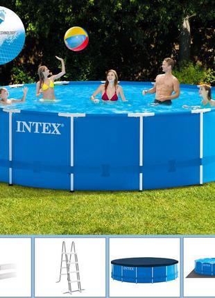 Каркасный бассейн Intex 28242, размер 457-122 см,фильтр-насос, ле